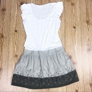 Mine Cream T-shirt Dress Linen Skirt